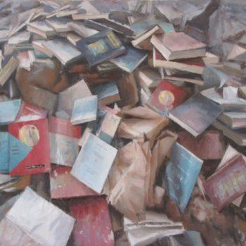1351,-Montagna-di-libri,-2011,-olio-su-tela-70x100
