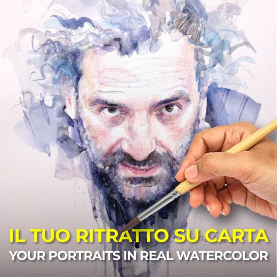 I will paint your portrait in real watercolor
